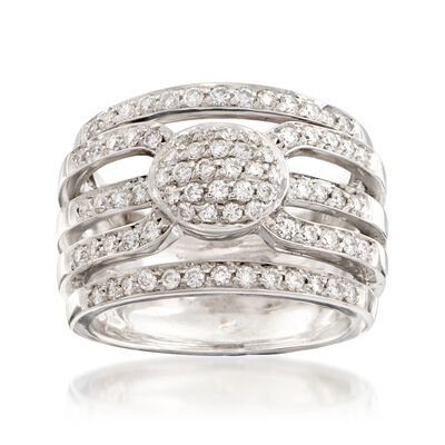 C. 1990 Vintage 1.15 ct. t.w. Diamond Multi-Row Ring in 18kt White Gold, , default