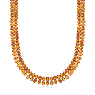 C. 1970 Vintage 98.00 ct. t.w. Citrine Necklace in 18kt Yellow Gold, , default