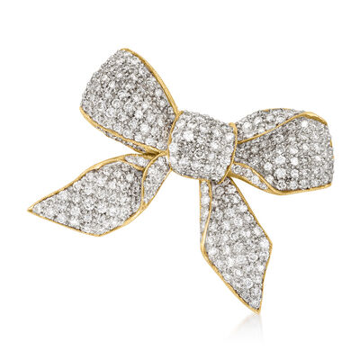 C. 2000 Vintage 7.75 ct. t.w. Diamond Bow Pin in 18kt Yellow Gold