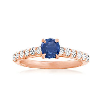 C. 2000 Vintage .70 Carat Sapphire Ring with .50 ct. t.w. Diamonds in 14kt Rose Gold