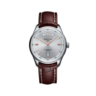 Breitling Premier Automatic Men's 40mm Day-Date Stainless Steel Watch - Brown Leather Strap