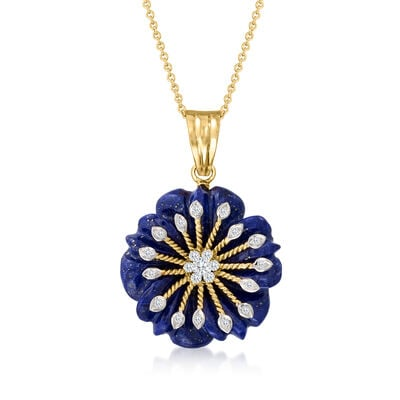 C. 1990 Vintage Lapis and .21 ct. t.w. Diamond Flower Pendant Necklace in 14kt Yellow Gold