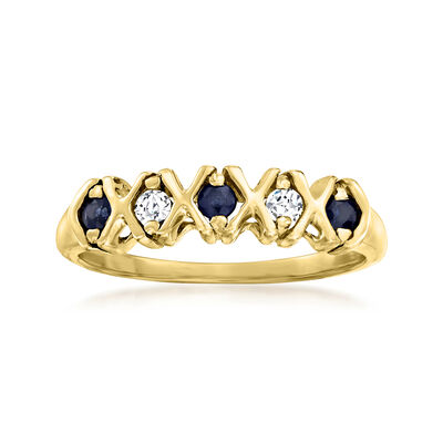 C. 1980 Vintage .25 ct. t.w. Sapphire and .10 ct. t.w. Synthetic White Spinel Ring in 10kt Yellow Gold