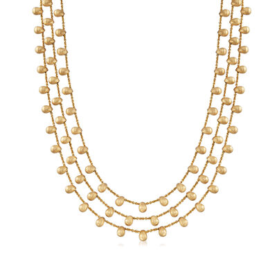 C. 1990 Vintage Marco Bicego 18kt Yellow Gold Three-Row Beaded Necklace, , default