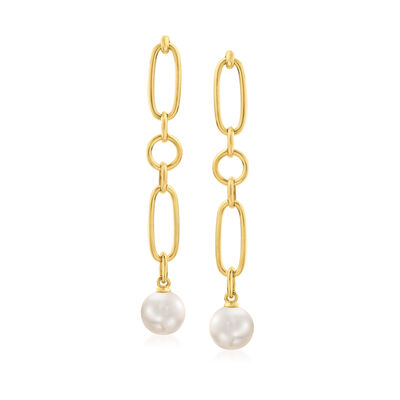 Mikimoto 7mm A+ Akoya Pearl Link Drop Earrings in 18kt Yellow Gold