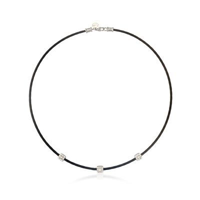 "ALOR ""Noir"" .14 ct. t.w. Diamond Station Black Cable Necklace with 18kt White Gold"
