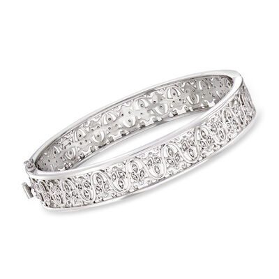 C. 2000 Vintage .75 ct. t.w. Diamond Filigree Bangle Bracelet in 14kt White Gold