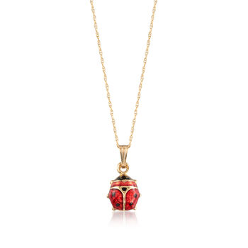 "Child's Red and Black Enamel Ladybug Pendant Necklace in 14-Karat Yellow Gold. 15"", , default"