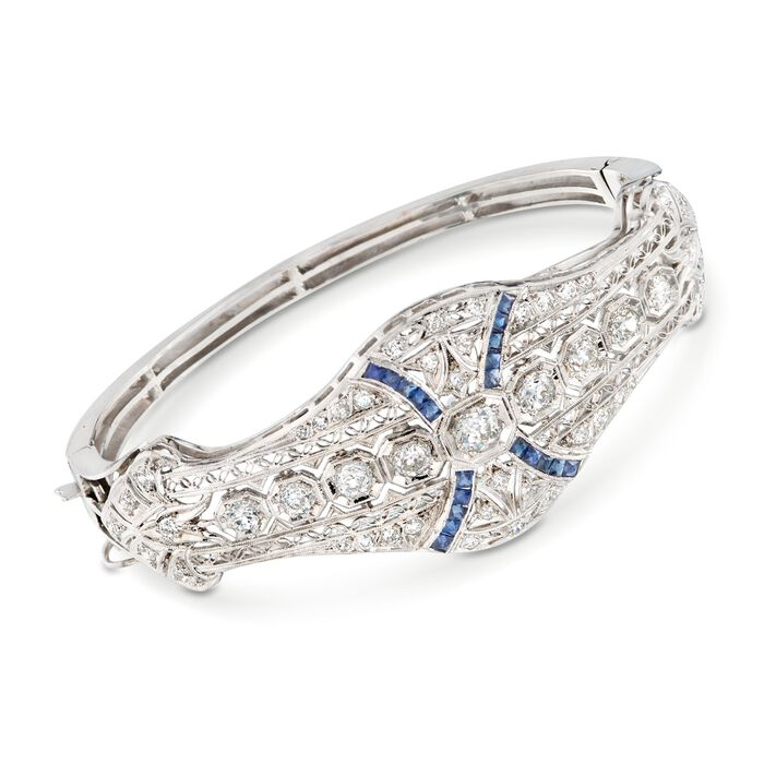 "C. 1960 Vintage 2.80 ct. t.w. Diamond and .60 ct. t.w. Synthetic Sapphire Bracelet in Platinum and 14kt White Gold. 7"", , default"