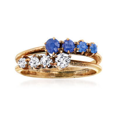 C. 1930 Vintage Sapphire Doublet and .35 ct. t.w. Diamond Bypass Ring in 10kt Yellow Gold