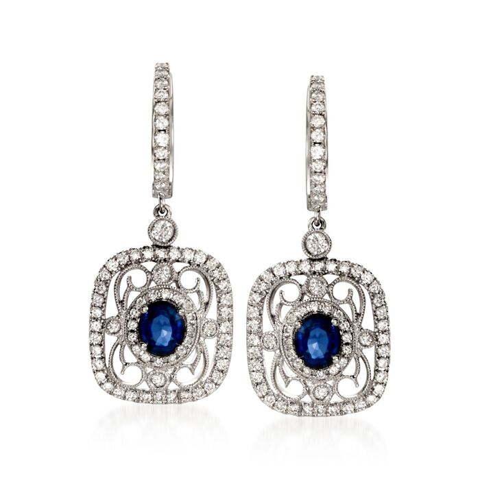 Simon G. .82 Carat Total Weight Sapphire and .78 Carat Total Weight Diamond Drops in 18-Karat White Gold, , default