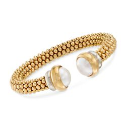 C. 2000 Vintage 12mm Cultured Mabe Pearl Beaded Cuff Bracelet in 18kt Yellow Gold, , default