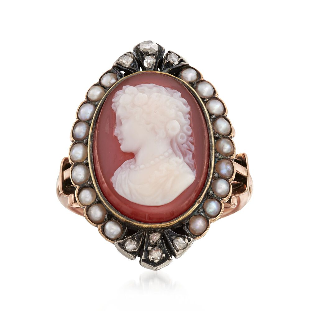 9fc38927467f0 C. 1880 Vintage Agate Cameo and Cultured Pearl Ring With Diamonds in  Sterling Silver and 18kt Gold. Size 6.25