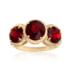 C. 1990 Vintage 2.85 ct. t.w. Garnet Three-Stone Ring in 10kt Yellow Gold, , default