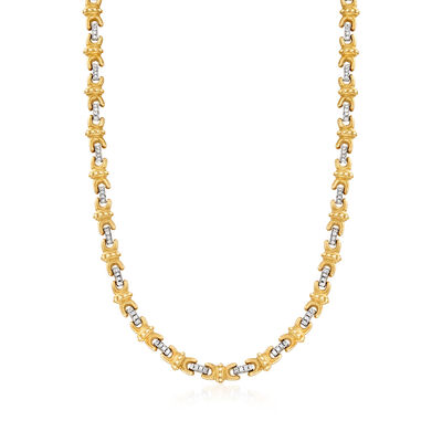 C. 1980 Vintage 2.00 ct. t.w. Diamond X Station Necklace in 18kt Two-Tone Gold