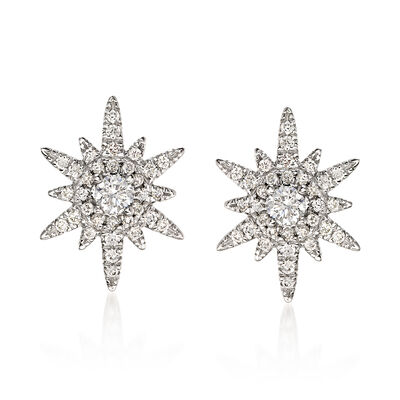 Gabriel Designs .39 ct. t.w. Diamond Starburst Earrings in 14kt White Gold, , default