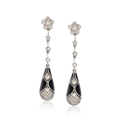 C. 1990 Vintage .75 ct. t.w. Diamond and Black Enamel Drop Earrings in 18kt White Gold
