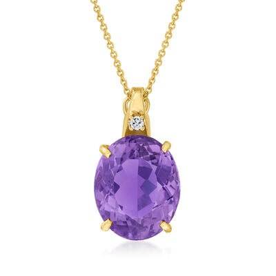 C. 1980 Vintage 10.50 Carat Amethyst Pendant Necklace in 14kt Yellow Gold