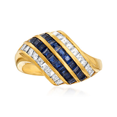 C. 1980 Vintage 1.14 ct. t.w. Sapphire and .88 ct. t.w. Diamond Diagonal Ring in 18kt Yellow Gold