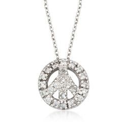 "Roberto Coin ""Tiny Treasures"" .11 ct. t.w. Peace Sign Diamond Necklace in 18kt White Gold    , , default"