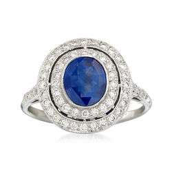 C. 1980 Vintage 1.30 Carat Sapphire and .56 ct. t.w. Diamond Double Halo Ring in 18kt White Gold, , default