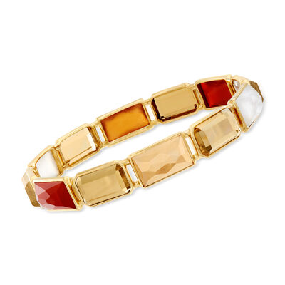"C. 2000 Ippolita ""Rock Candy"" Gelato Casablanca 20.75 ct. t.w. Citrine and Multi-Gemstone Bangle Bracelet in 18kt Yellow Gold"