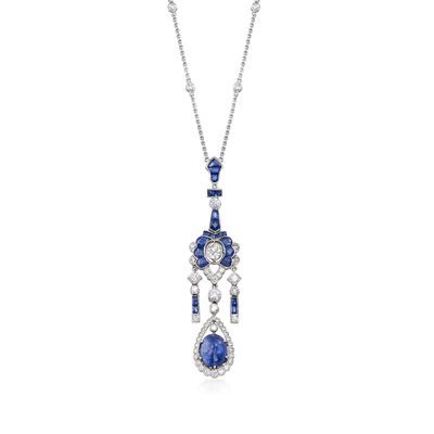 C. 2000 Vintage 7.20 ct. t.w. Sapphire and 1.80 ct. t.w. Diamond Lavalier Necklace in 18kt White Gold, , default