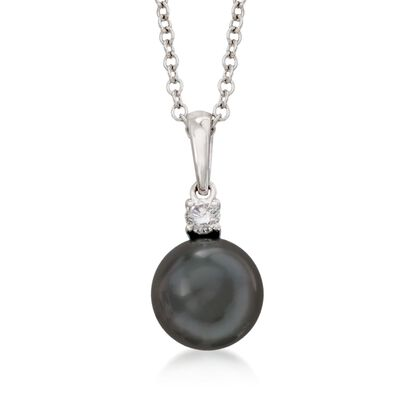 Mikimoto 9-9.5mm Black South Sea Pearl and .10 Carat Diamond Pendant Necklace in 18kt White Gold, , default