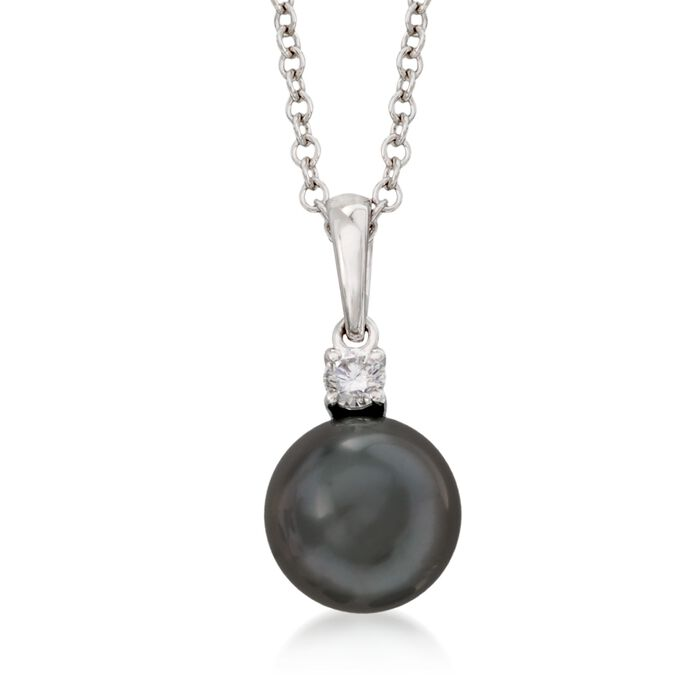 Mikimoto 9-9.5mm Black South Sea Pearl and .10 Carat Diamond Pendant Necklace in 18kt White Gold