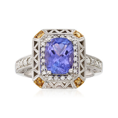 C. 1990 Vintage 2.40 Carat Tanzanite and .50 ct. t.w. Diamond Ring in 18kt White Gold, , default
