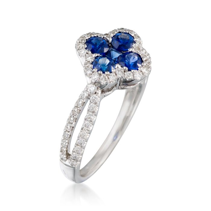 Gregg Ruth .77 ct. t.w. Sapphire and .35 ct. t.w. Diamond Clover Ring in 18kt White Gold