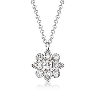 Gabriel Designs .22 ct. t.w. Diamond Flower Pendant Necklace in 14kt White Gold