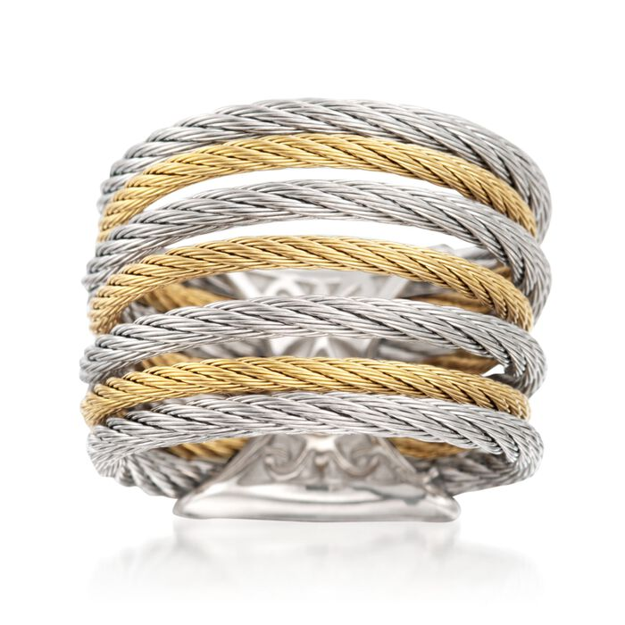 "ALOR ""Classique"" Two-Tone Stainless Steel Multi-Cable Ring with 18kt Yellow Gold, , default"