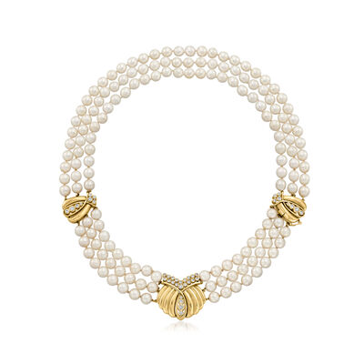 C. 1980 Vintage 6.5mm Cultured Pearl and 1.35 ct. t.w. Diamond Three-Row Necklace in 14kt Yellow Gold