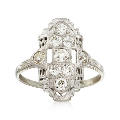 C. 1940 Vintage .80 ct. t.w. Diamond Cocktail Ring in 18kt White Gold, , default