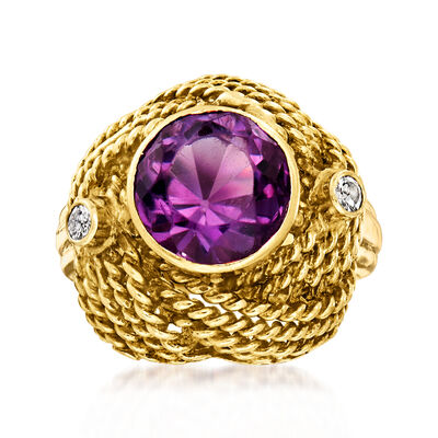 C. 1960 Vintage 3.50 Carat Amethyst and .15 ct. t.w. Diamond Love Knot Ring in 14kt Yellow Gold