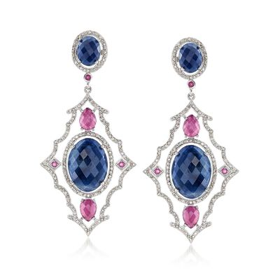 40.80 ct. t.w. Opaque Pink and Blue Sapphire Drop Earrings with 2.95 ct. t.w. Diamonds in Sterling