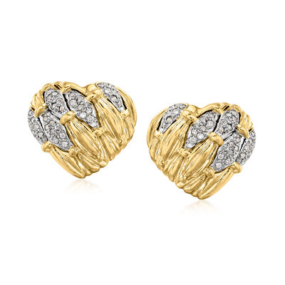 C. 1980 Vintage .60 ct. t.w. Diamond and 18kt Yellow Gold Clip-On Earrings