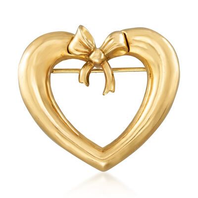C. 1991 Tiffany Jewelry 18kt Yellow Gold Heart with Bow Pin, , default