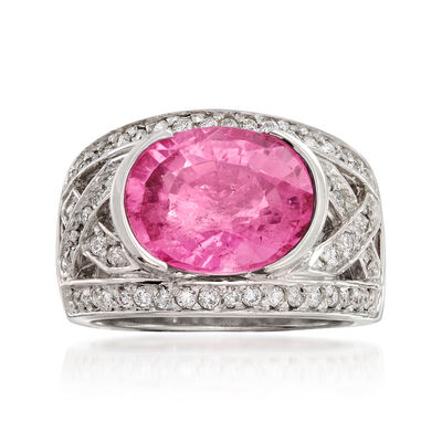 C. 1990 Vintage 5.25 Carat Pink Tourmaline and .75 ct. t.w. Diamond Ring in 18kt White Gold, , default