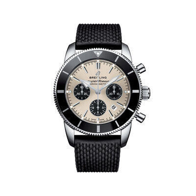 Breitling Superocean Heritage II B01 Chronograph Men's 44mm Stainless Steel Watch - Black Rubber Strap, , default