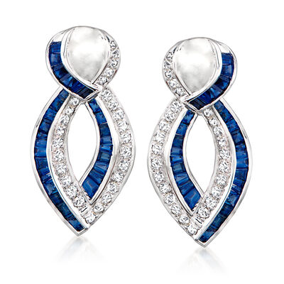 C. 1980 Vintage 2.35 ct. t.w. Sapphire and 1.00 ct. t.w. Diamond Twisted Drop Earrings in 18kt White Gold