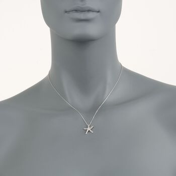 Roberto Coin Tiny Treasures .16 Carat Total Weight Diamond Starfish Necklace in 18-Karat White Gold. 16""