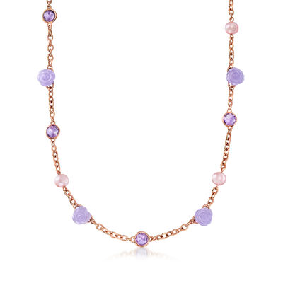 C. 1990 Vintage 8mm Violet Cultured Pearl, 22.00 ct. t.w. Violet Jade and 6.70 ct. t.w. Amethyst Necklace in 18kt Rose Gold, , default