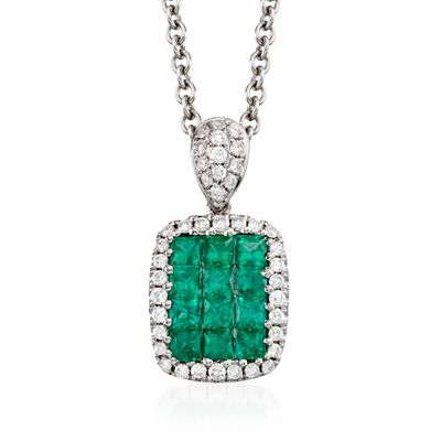 Gregg Ruth .45 ct. t.w. Emerald and .15 ct. t.w. Diamond Necklace in 18kt White Gold, , default