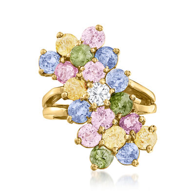 C. 1990 Vintage .30 Carat Diamond and 8.00 ct. t.w. Multicolored Sapphire Ring in 14kt Yellow Gold