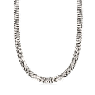 C. 1990 Vintage 14kt White Gold Mesh Necklace, , default