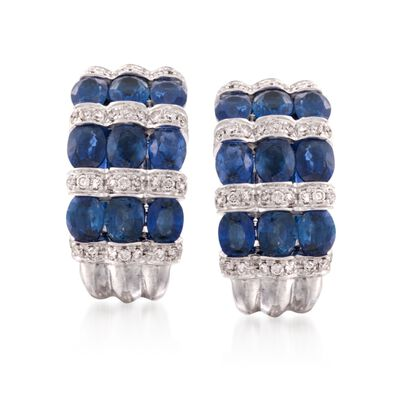 6.29 ct. t.w. Sapphire and .58 ct. t.w. Diamond Hoop Earrings in 18kt White Gold, , default