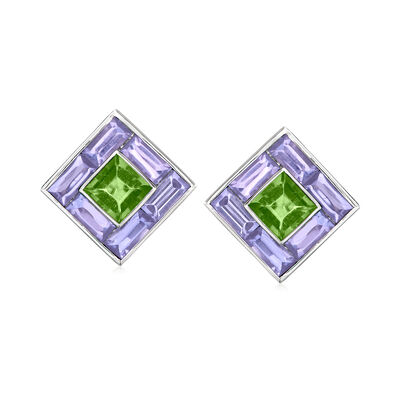 C. 1980 Vintage Green Tourmaline and 4.87 ct. t.w. Tanzanite Square Earrings in Platinum
