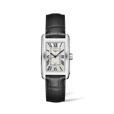 Longines Dolcevita Men's 28x44mm Automatic Stainless Steel Watch with Black Leather